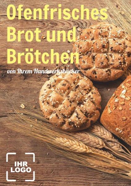 Poster Ofenfrisches Brot und Brötchen 50x70 cm