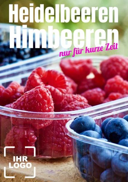 Poster Heidelbeeren Himbeeren 50x70 cm