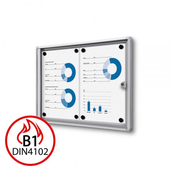 B1 Brandschutz-Schaukasten XS Economy für den Inneneinsatz 44x31 cm (2x A4) | silber | Acrylglas