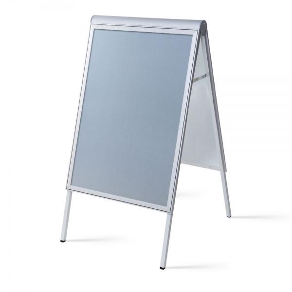 Design Kundenstopper Compasso 70x100 cm   silber   Antireflex-Folie